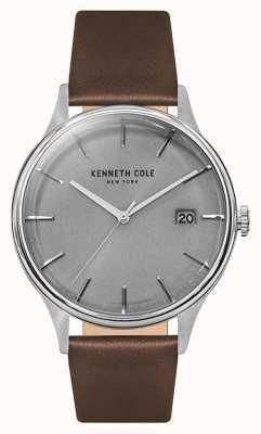 Kenneth Cole Mens luz gris fecha marcado cuero correa de cuero KC15112003