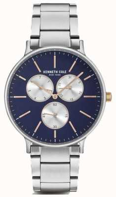Kenneth Cole Mens multifunción pulsera de acero inoxidable de dial azul KC14946008
