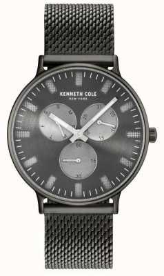 Kenneth Cole Hombres multifunción arma de dial de acero plateado pulsera de malla de acero KC14946015