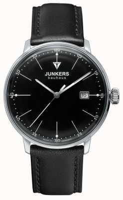 Junkers Mens negro bauhaus cinturón de cuero negro de cuero 6070-2
