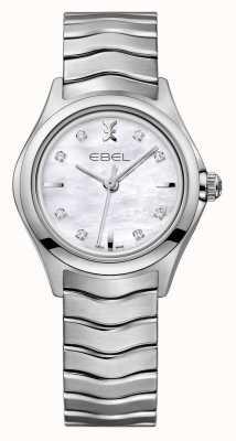 EBEL Reloj de acero inoxidable Wave para mujer con juego de diamantes. 1216193