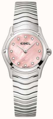 EBEL Mujeres clásicas 12 diamantes set rosa esfera acero inoxidable 1216279