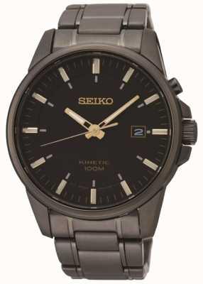 Seiko Reloj de acero plateado iónico negro cinético para hombre SKA755P1
