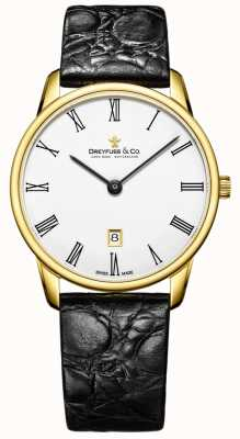 Dreyfuss Reloj plateado oro de la correa de cuero del Mens 1980 DGS00136/01