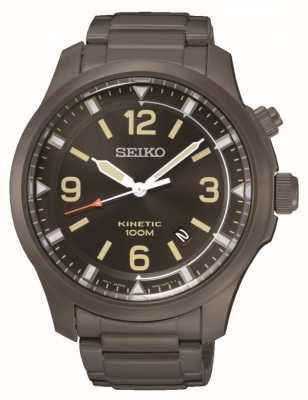 Seiko Mens cinético negro acero inoxidable ip SKA707P9