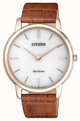 Citizen Correa de cuero marrón ultra delgada del estilete del eco de los hombres AR1133-15A