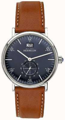 Michel Herbelin Hombres inspiración 1947 marrón correa de cuero azul dial 18247/15GO