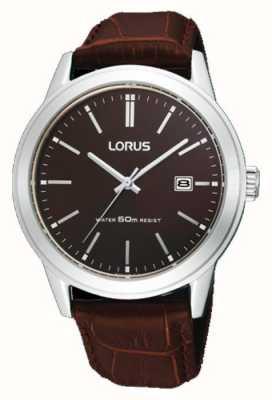 Lorus Reloj para hombre con correa de cuero marrón 38m RH925BX9