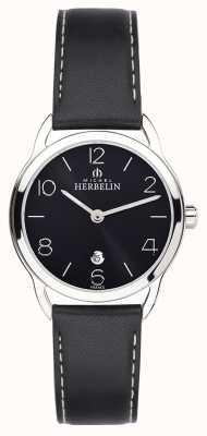 Michel Herbelin Reloj de la correa negra del equinoccio de las mujeres 16977/14N