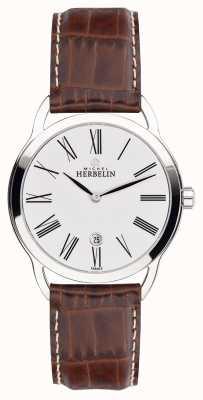 Michel Herbelin Mens equinox marrón correa reloj clásico reloj 19577/01GO