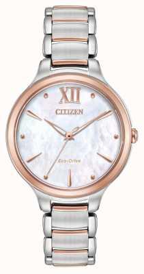 Citizen Reloj de oro rosado de dos tonos para mujer l EM0556-87D