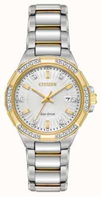 Citizen Reloj de acero inoxidable de dos tonos para mujer riva diamante EW2464-55A