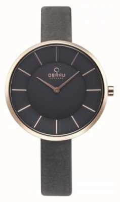Obaku Reloj de cuero gris de Womans V185LXVJRJ