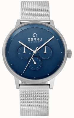 Obaku Reloj de acero cian de malla de acero V208GMCLMC