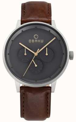 Obaku Reloj de cuero marrón para mujer V208GMCJRN