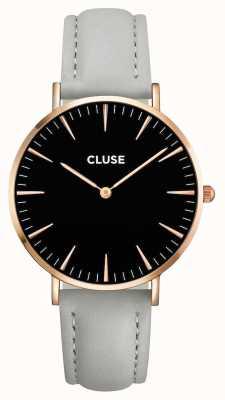 CLUSE La boheme rosa caja de oro dial negro / correa gris CL18018