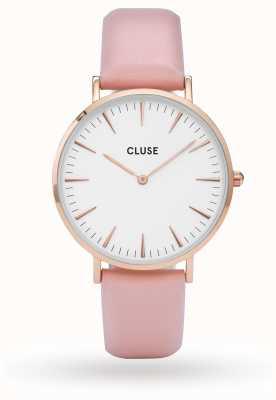 CLUSE La boheme rosa caja de oro dial blanco / rosa correa CL18014