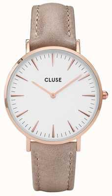 CLUSE La boheme rose caja de oro dial blanco / correa avellana CL18031