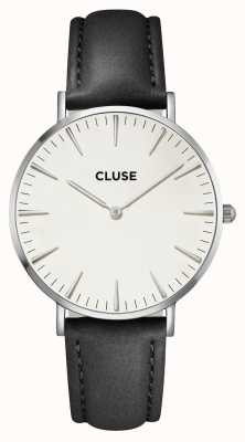 CLUSE La boheme caja de plata esfera blanca / correa negra CL18208