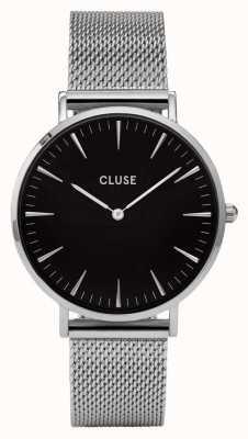 CLUSE La boheme caja de plata dial negro / malla de malla de plata CL18106