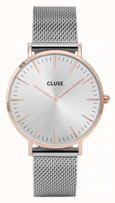 CLUSE La boheme oro rosa caja de plata dial / malla de malla de plata CL18116