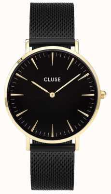 CLUSE La boheme caja de oro dial negro / correa de malla negro CL18117