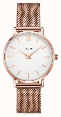 CLUSE Minuit rosa caja de oro dial blanco / correa de malla de oro rosa CL30013
