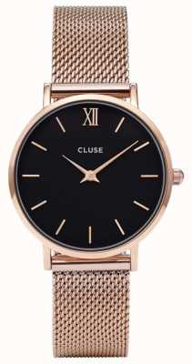 CLUSE Minuit rosa caja de oro dial negro / correa de malla de oro rosa CL30016