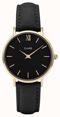 CLUSE Caja de oro Minuit con esfera negra / correa negra CL30004