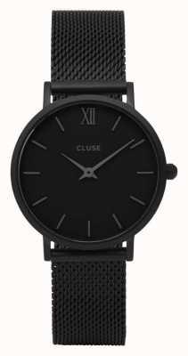 CLUSE Minuit funda negra con esfera negra / correa de malla negra CL30011