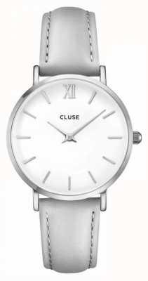 CLUSE Minuit caja de plata con esfera blanca / correa gris CL30006
