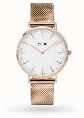CLUSE La boheme rose caja de oro dial blanco / rosa correa de malla CL18112