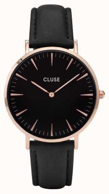CLUSE La boheme rosa caja de oro dial negro / correa negro CL18001