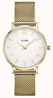 CLUSE Minuit caja de oro dial blanco / malla de malla de oro CL30010