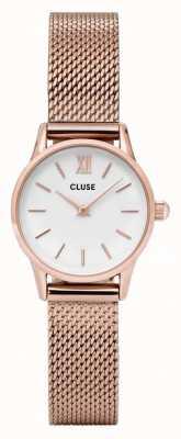 CLUSE La vendette rosa caja de oro dial blanco / rosa correa de malla CL50006