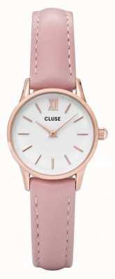 CLUSE La vendette rosa caja de oro dial blanco / correa de color rosa CL50010