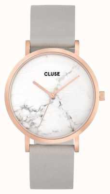 CLUSE La roche caja de oro rosa dial de mármol / correa gris CL40103