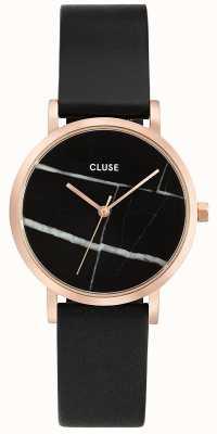 CLUSE La roche caja de oro rosa dial de mármol / correa negro CL40104