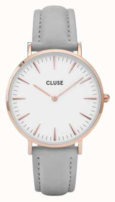 CLUSE La boheme rose caja de oro dial blanco / correa gris CL18015
