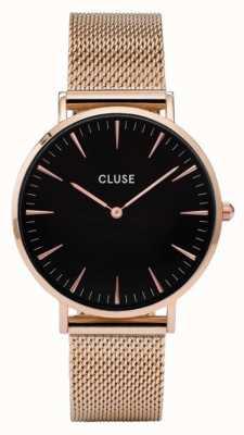 CLUSE La boheme rosa caja de oro dial negro / correa de malla rosa CL18113