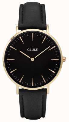 CLUSE La boheme caja de oro dial negro / correa negro CL18401
