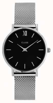 CLUSE Minuit caja de plata dial negro / malla de malla de plata CL30015