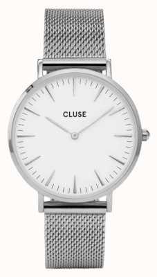 CLUSE La boheme caja de plata con esfera blanca / malla de malla de plata CL18105