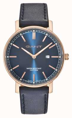 GANT Mens nashville correa de cuero azul esfera azul GT006007