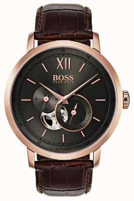 Hugo Boss Reloj de cuero marrón automático de la firma del Mens 1513506
