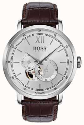 Hugo Boss Reloj de cuero marrón automático de la firma del Mens 1513505