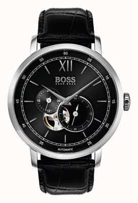 Hugo Boss Reloj de cuero negro automático de la firma del Mens 1513504
