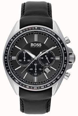 Hugo Boss Mens conductor deportivo negro cuero cronógrafo 1513085