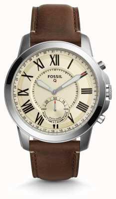 Fossil Q concesión híbrido smartwatch cuero marrón oscuro FTW1118