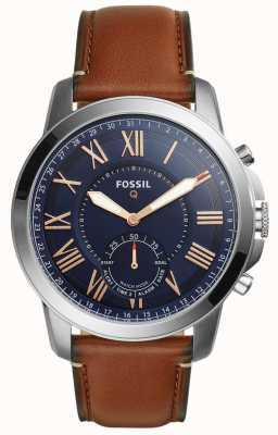 Fossil Q concesión híbrido smartwatch marrón claro de cuero FTW1122